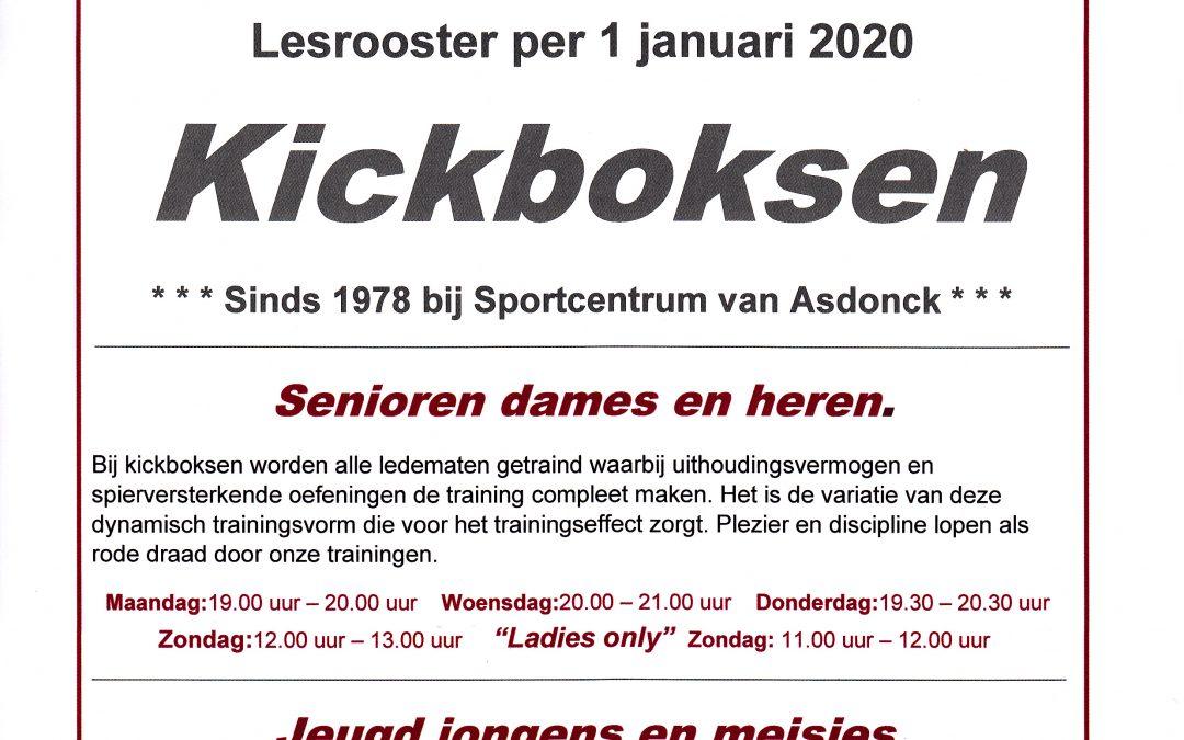 Lesrooster Kickboksen vanaf 1 januari